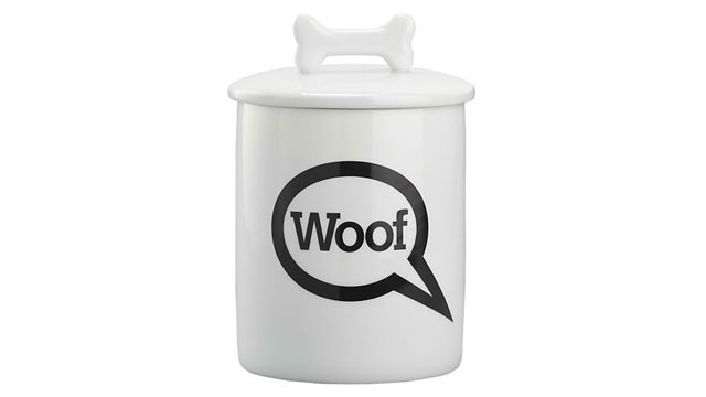 Crate and Barrel Woof dog treat jar