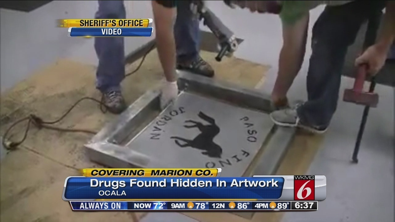 Man arrested after cocaine found hidden in artwork ...