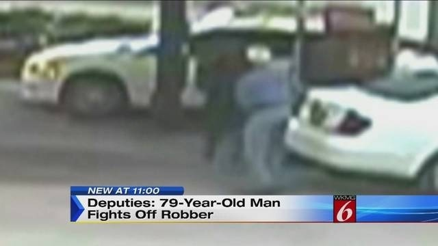 11pm 79 year old Fights off Robber