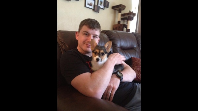 husband pic with dog