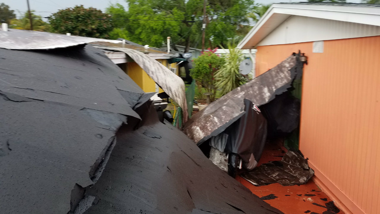 Roof Blown Off Building In Cape Canaveral