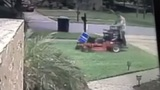Video shows landscaper running over Donald Trump sign with lawnmower