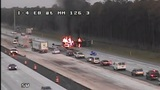 Overturned vehicle catches fire on I-4 in Volusia