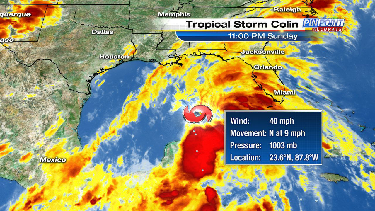 Warnings, watches issued as Tropical Storm Colin moves north