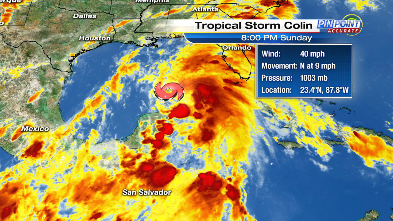 Central Fla. counties under flood watch as Tropical Storm Colin moves north