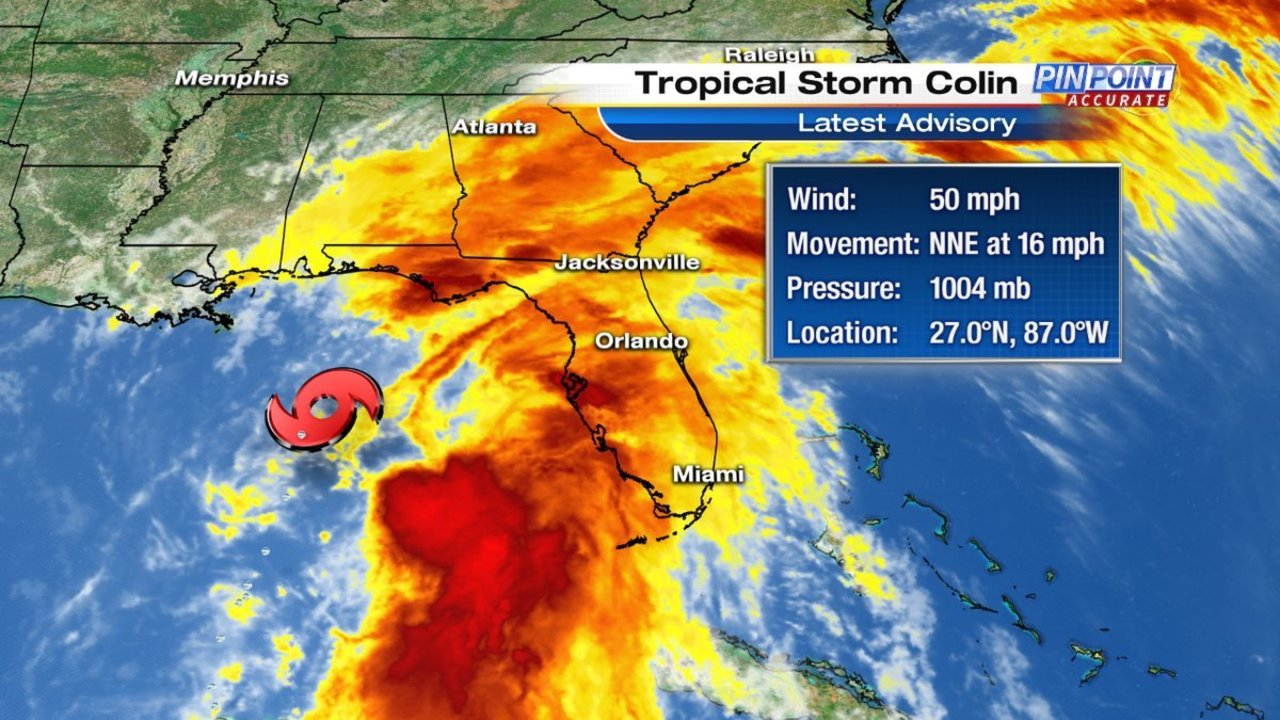 Tropical Storm Colin moves slightly north as it churns off Florida coast