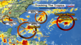 Tracking the tropics: Invest 99 weakens, 40% chance of development