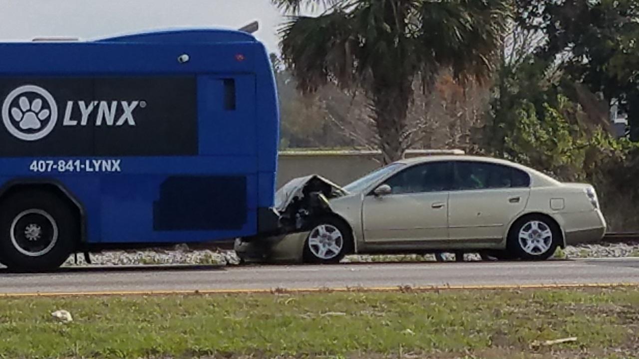 Car Rear Ends Lynx Bus In Orlando