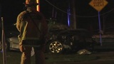 Car snaps power pole in half in Orange County