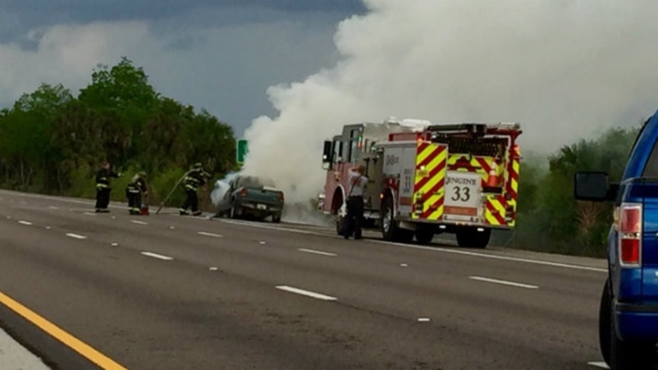 Florida Highway Patrol Traffic >> Truck catches fire on Interstate 4