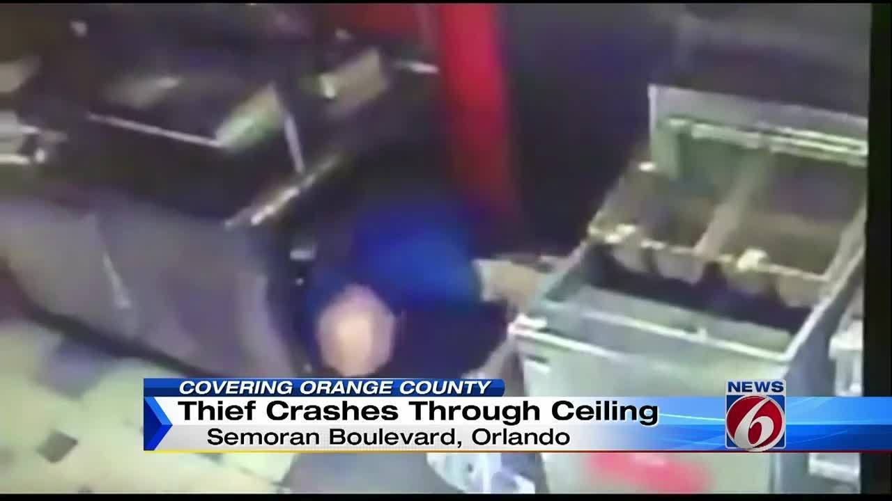 Thief Caught On Camera Falling Out Of Restaurant Ceiling