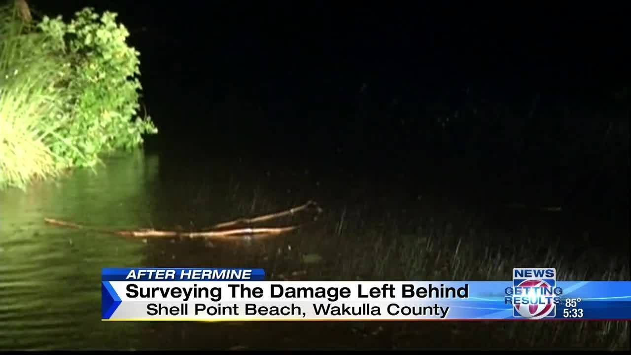 Surveying damage left behind at Shell Point Beach