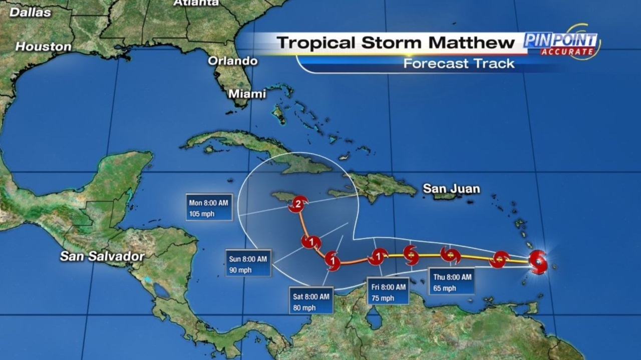 Tropical storm matthew on projected path toward florida for Pool show in orlando 2016