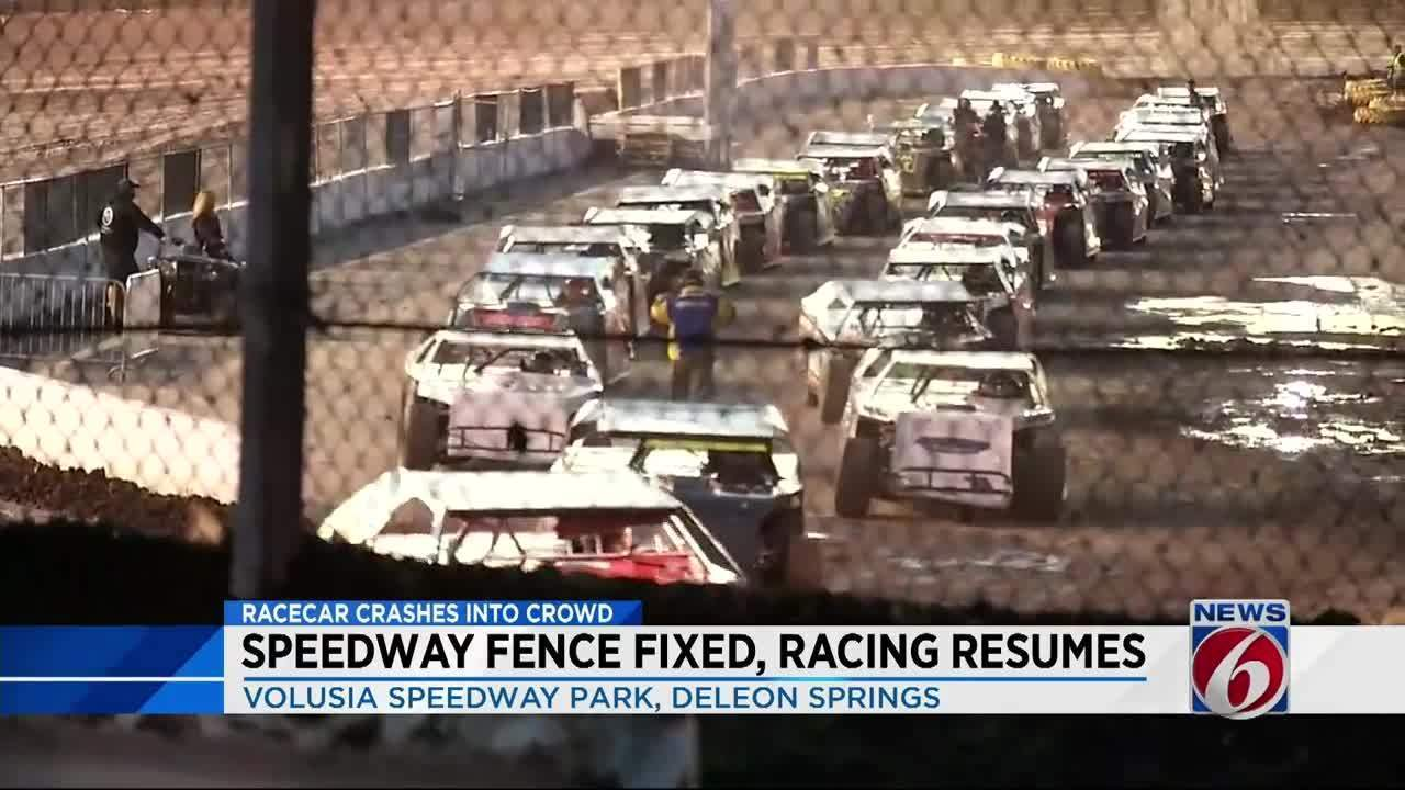 Race Car Through Fence At Volusia Speedway