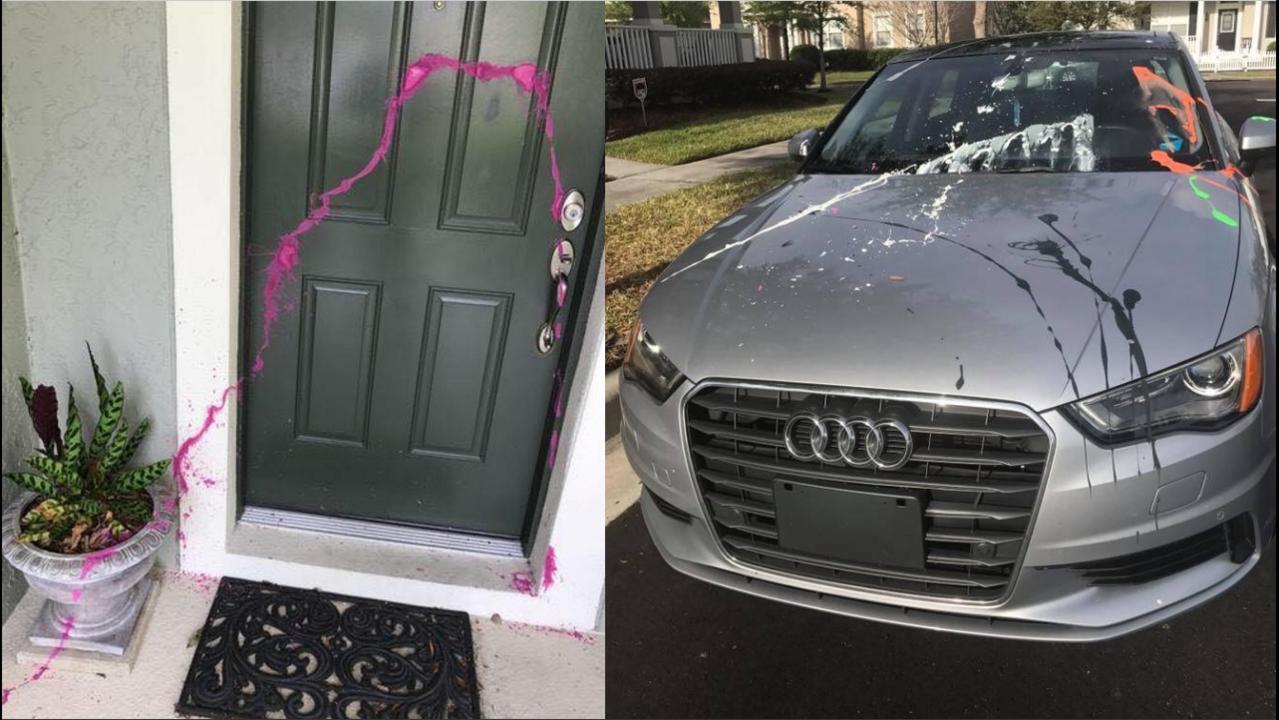 vandals splatter paint on homes cars in avalon park. Black Bedroom Furniture Sets. Home Design Ideas