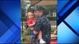 U.S. naval officer surprises daughter at school