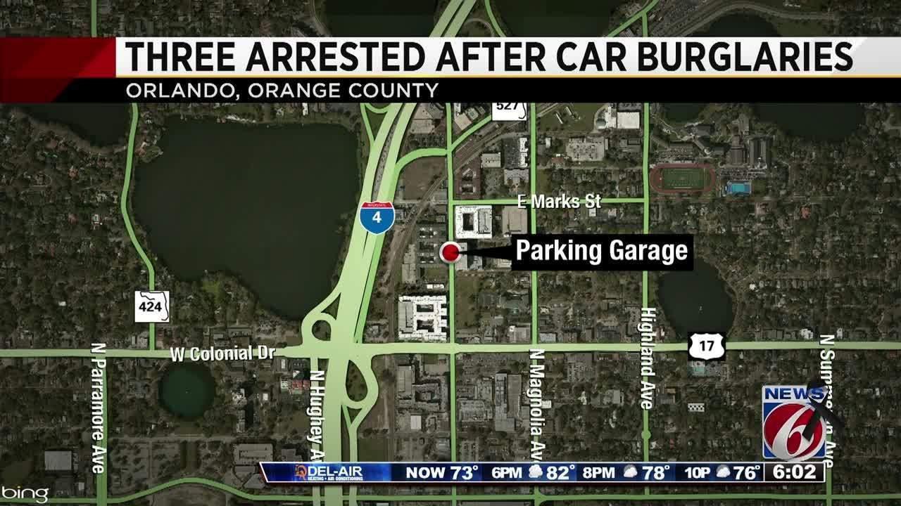 Arrested in car break ins at orlando parking garage