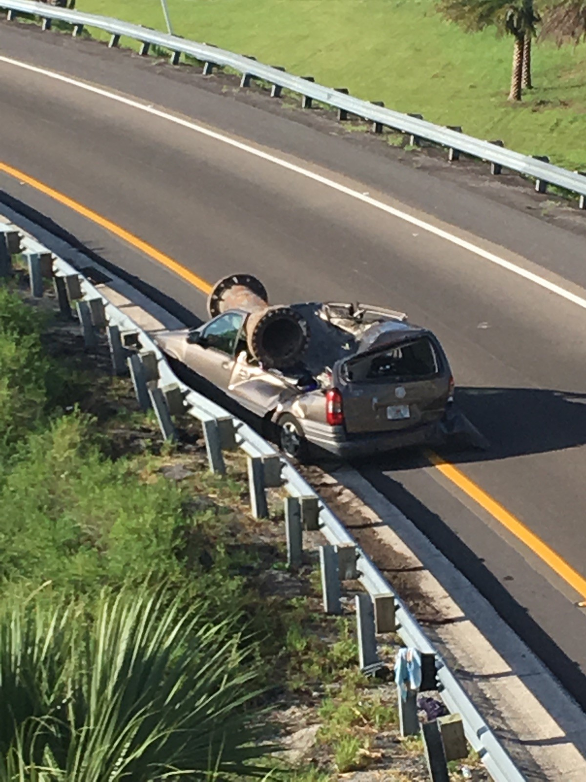 Large Metal Object Falls Off I 4 Overpass Crushing Car Below