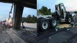Dump truck raised bed causes traffic diversion, damage to overpass