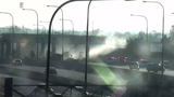 Truck bursts into flames after striking toll plaza on SR 408, police say