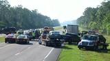 Smokey conditions cause 17-car crash
