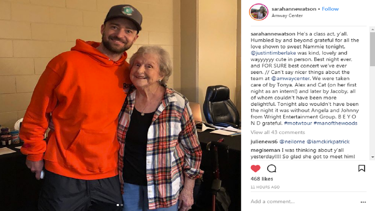 timberlake1_1526400852301_12076420_ver1.0_1280_720 Justin Timberlake gives shout out to woman, 88, surprised with tickets
