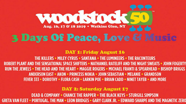 Lineup revealed for Woodstock's 50th anniversary celebration