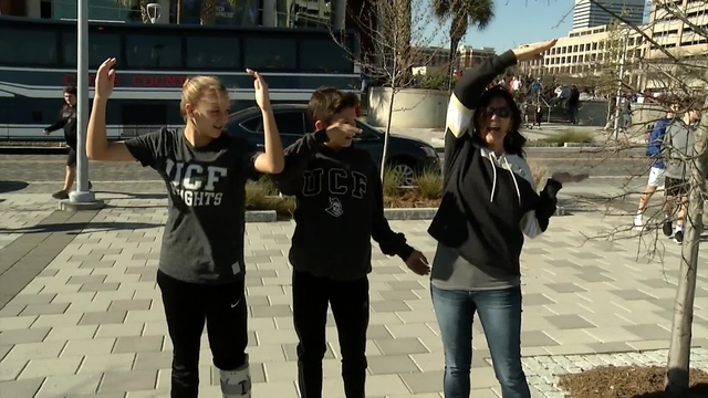 UCF fans celebrate big basketball game, even though they lost