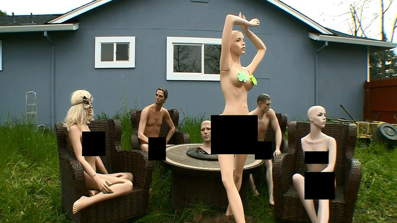 Man uses nude mannequins to send message to nosey neighbor