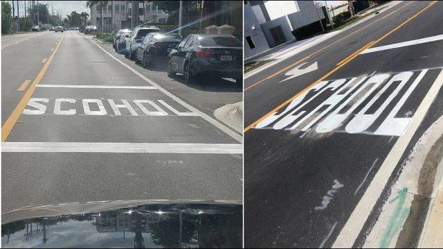 You had one job: Road crew misspells 'school' on crosswalk