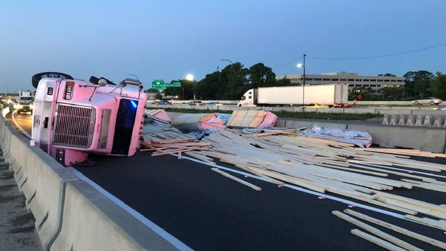 Overturned semi closes I-4 east in Maitland