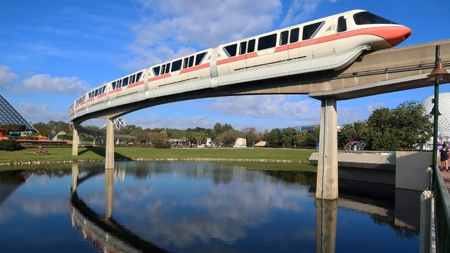 Bucket truck used to rescue riders from Disney's monorail