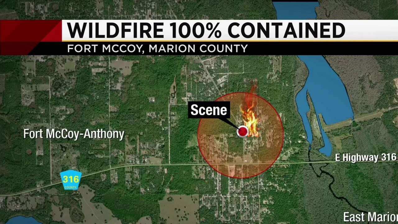 North Marion County wildfire 100% contained, evacuations lifted
