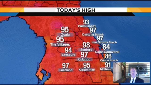 Temps could hit 96 on Wednesday