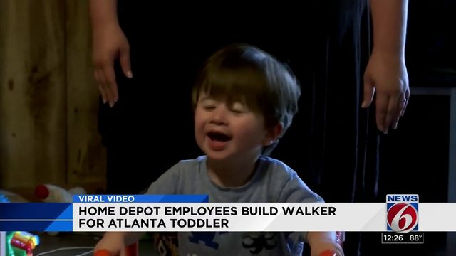 Home Depot employees build walker for toddler