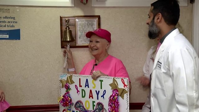 News 6 receptionist Karen Gehl rings bell to celebrate end of chemo