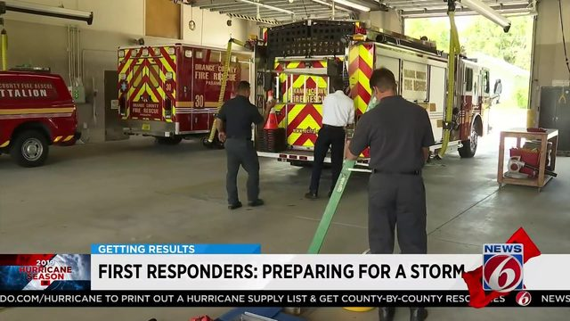 First responders preparing for a storm