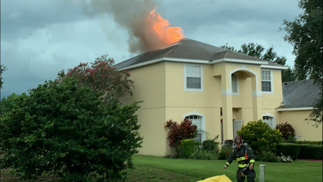 House catches fire after getting hit by lightning in Ocoee