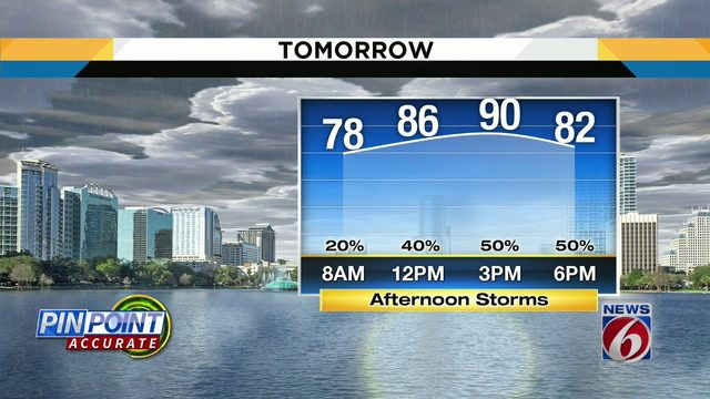Rain chances up to 50 percent on Wednesday
