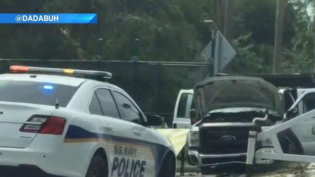 Man in stolen dump truck rams into Navy base, deputies say