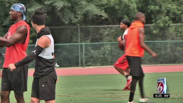 Flag football team practices locally