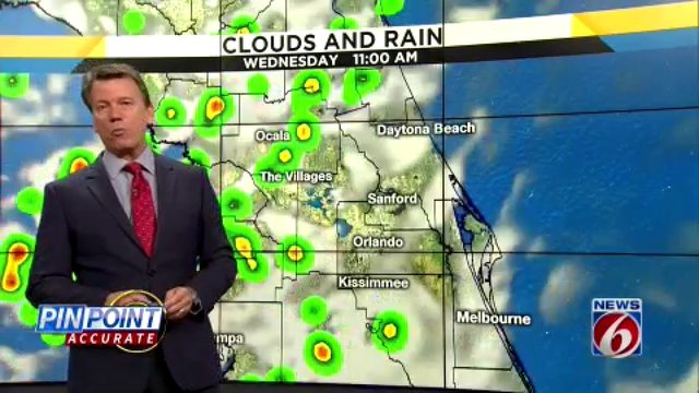 40 percent chance of rain in the forecast for Central Florida for Tuesday