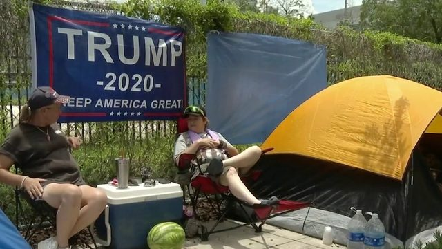 President Trump supporters line up 40 hours before Orlando rally