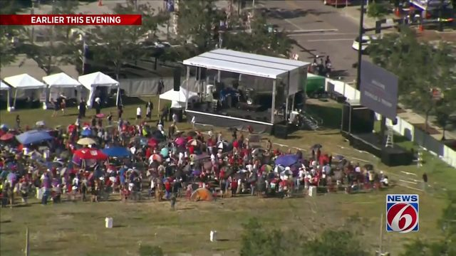 Crowds gather for President Trump's rally in Orlando