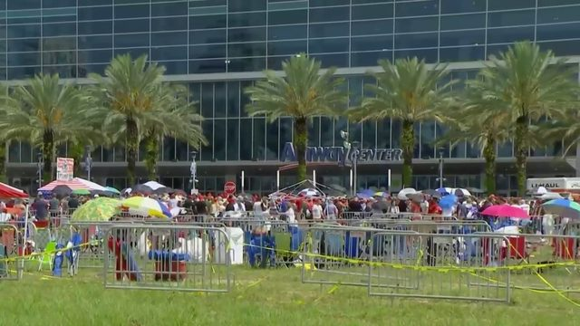 Cleanup continues after President Donald Trump's rally in downtown Orlando