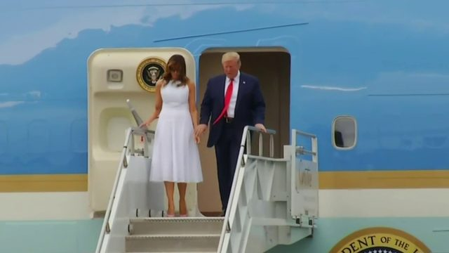 President Donald Trump arrives at Orlando airport