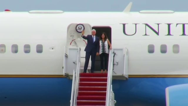 Vice President Mike Pence arrives for campaign rally