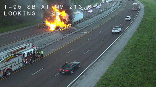 Semi catches fire, slowing traffic on I-95 north near Titusville