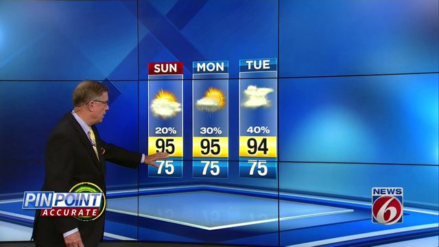 Partly cloudy Saturday night as hot conditions continue Sunday