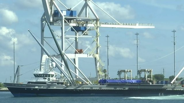 SpaceX rocket nose cone caught by Ms. Tree returns to Port Canaveral